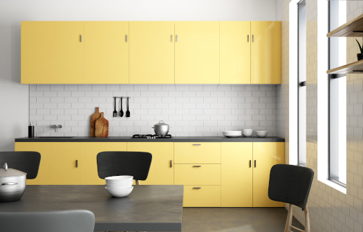 Luxury yellow kitchen interior with furniture and appliances. Style and design concept. 3D Rendering