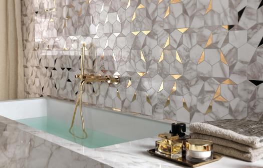 Minoli Marvel Gold Hex Gris Calacatta Mosaic 525